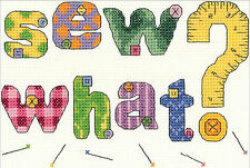 Cross Stitch Kit ~ Janlynn Sew What? Patchwork Sewing Room Sign #021-1830