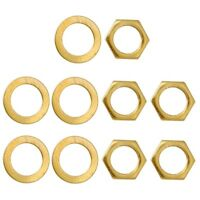 5 Pieces Iron Electric Guitar/Bass Jack Socket Nuts w/ Washers Set Gold
