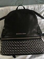 Michael Kors Rhea Grommet silver hardware  Leather Black Backpack