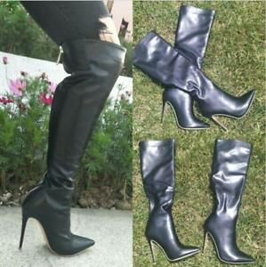 Sexy Women Over Knee High Thigh Boots Party Stilettos Pointy Toe Back Zip Shoes