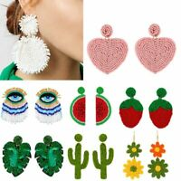 Elegant Women Plant Bohemian Handmade Woven Bead Drop Dangle Earings Jewelry New