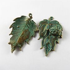 Lot 10pcs Retro Style Green Bronze Alloy Leaves Ladybug Charms Pendant 45*27*3mm