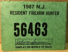 New Jersey 1987 Resident Firearm Hunting License - excellent condition - NJ