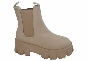 Ladies Truffle Cream Putty Chunky Platform Influencer Sole Pull On Chelsea Ankle