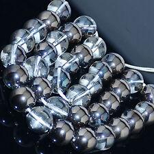 6mm 8mm 10mm 12mm Natural Metallic Titanium Coated  Quartz Crystal Round Bead