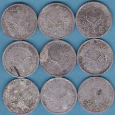 Lot  9  x  2 Francs 1977  Djibouti 1977  non nettoyés  Aluminium