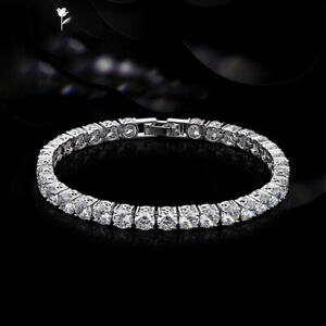 Ladies 14K White Gold Over 7 CT Round Cut Diamond Tennis Bracelet 7 Inches UK