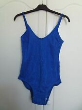 NWOT fabulous cobalt blue swimsuit size 12 small fit hygiene strip attached