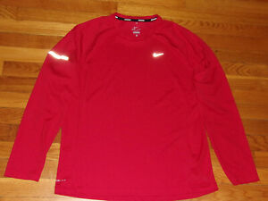 NIKE DRI-FIT LONG SLEEVE RED RUNNING JERSEY MENS LARGE EXCELLENT CONDITION