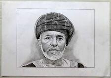 "Qaboos Bin Said Al Said Sultan of Oman pencil on card 11.5"" x 19.5"""