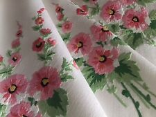 GORGEOUS VINTAGE LINEN HAND EMBROIDERED TABLECLOTH~PINK BLOSSOMED FLORALS