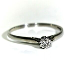 9ct 9k White Gold Diamond Solitaire Ring Size 9 - R 1/2
