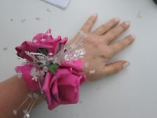 Cerise Hot Pink Wrist Corsage Prom Or Wedding Flowers  Rose Bride Maid Mother