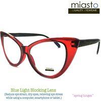 "MIASTO ""BIG CAT EYE"" COMPUTER READER READING GLASSES +2.00 RED (ANTI-BLUE LIGHT)"