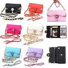 Luxury Bling Diamond Card Holder Strap Wallet Handbag PU Leather Flip Case Cover