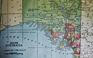 SOUTH AUSTRALIA & NORTHERN TER. ATLAS MAP PAGE PLATE 1908 VINTAGE GEORGE F. CRAM