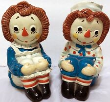 Vintage Raggedy Ann & Andy Book Ends Rag Doll 1970 Japan Doll Gruelle SEE VIDEO