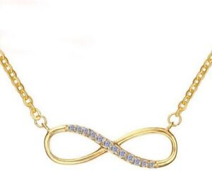 Damen Edelstahl Halskette mit Infinity Love Liebe Zirkonia Anhänger - vergoldet
