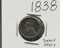 1838 Liberty Seated Dime Coin Choice VF Very Fine Small Stars No Drapery Variety