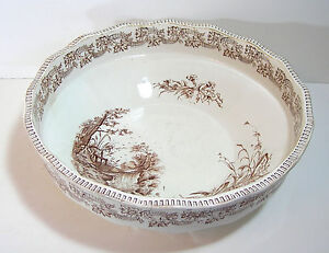 "English Ironstone Brown Transferware 15"" Bowl J H Davis Cascade"