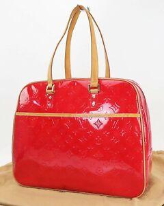 Authentic LOUIS VUITTON Sutton Red Vernis Leather Tote Shoulder Bag #40351