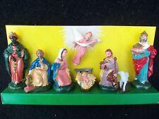 """Vtg Nativity Plastic Hand Painted Set 8 Pieces!!  ORG BOX!  HONG KONG!  2 - 3"""""""