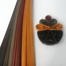 100 Quilling Autoadesivo Strisce di carta in tonalità di marrone - 10mm wide