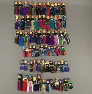 Mexican Colorful Worry Dolls Women Children Figures Handmade Lot of 12