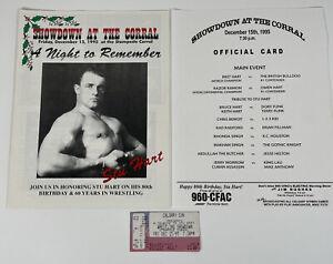 Vintage Wrestling Program Stu Hart, Bret Hit Man Hart & Ticket 1995