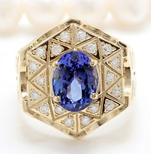 5.45 TCW Natural Tanzanite and Diamonds in 14K Solid Yellow Gold Unisex Ring