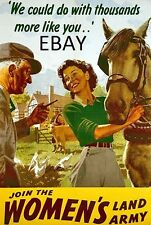WW2 WOMEN'S LAND ARMY HORSES WAR WORKERS POSTER NEW A4 PRINT