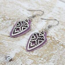 Handmade Purple Genuine Leather And Geometric Silver Fashion Drop Earrings