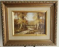 Bernard Bosman Original Oil Painting on Board - Vintage Framed Golden Landscape