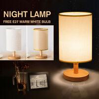 Modern Reading Lamp Home Table Desk Light Bedside Standing Wood Cylinder