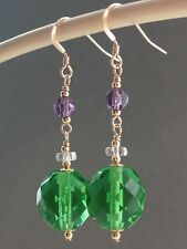 Vintage Faceted Glass - Suffragette Colours 14ct Rolled Gold Earrings