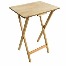 Small Folding Table Wooden Fold Away Single Dining TV Laptop Desk Tray Natural