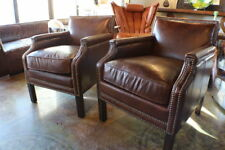 "24"" W Club arm chair Brazilian vintage-brown cigar leather spectacular quality"