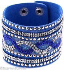 Bleu en Cuir Synthétique Bracelet Bracelet Bracelet Femme Cristal Strass A59
