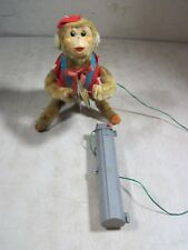 Vintage Battery Op Cymbal Playing Wired Remote Control Flip Over Toy Monkey