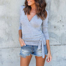 Womens Wrap Tops Blouse V-neck Long Sleeve T Shirt Ladies Casual Bottoms Tee