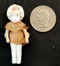 Vintage Antique Bisque Miniature German Bonnet Doll in Original Ribbon Dress