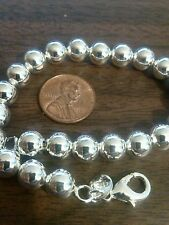 """New 925 Sterling Silver 10mm ball bangle bracelet 8"""" Ships Today From USA Pretty"""