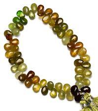 """Natural Gem Grossular Green Garnet 8x6MM Approx. Pear Shape Briolette Beads 8.5"""""""