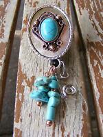 Turquoise Natural Stone INDIAN Name Tag Key Card ID Badge Holder Reel Lanyard