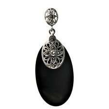 Marcasite Pendant Sterling Silver 925 Vintage Style Jewelry Black Onyx 52 mm
