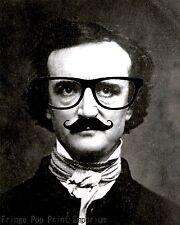 Edgar Allan Poe Art Print 8 x 10 - Nerd Hipster Poe with Eyeglasses Altered