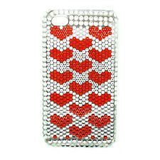 Funda PARA APPLE IPHONE 4 4S Estrás Diamante blanco rojo corazón duro contraportada
