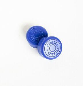New Vintage Old Logo Cinelli - Milano Rubber Handlebar Plugs Blue NOS