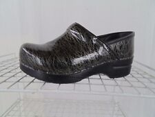 DANSKO 36 PATENT LEATHER BLACK AND SILVER CLOGS WOMEN USA SIZE 5.5 - 6 M