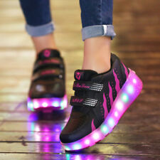 Kids 2 Wheels Jazzy Junior Girls Boys Light Heelys LED Shoes Roller Skate